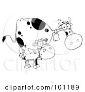 Royalty Free RF Clipart Illustration Of A Black And White Calf By A Mom Dairy Cow
