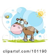 Royalty Free RF Clipart Illustration Of A Brown Calf Watching A Bee On A Sunny Day