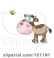Royalty Free RF Clipart Illustration Of A Brown Calf Watching A Bee