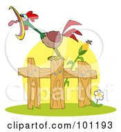 Royalty Free RF Clipart Illustration Of A Loud Rooster On A Wood Fence By A Corn Stalk by Hit Toon