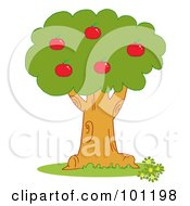 Royalty Free RF Clipart Illustration Of Red Apples On An Orchard Tree by Hit Toon