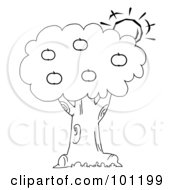 Royalty Free RF Clipart Illustration Of A Coloring Page Outline Of The Sun Behind An Apple Tree