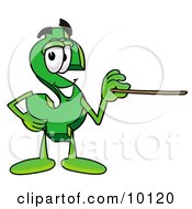 Clipart Picture Of A Dollar Sign Mascot Cartoon Character Holding A Pointer Stick by Toons4Biz