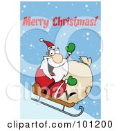Merry Christmas Greeting With Santa Sledding