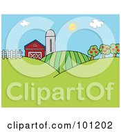 Royalty Free RF Clipart Illustration Of The Sun Above A Silo Barn Orchard Hills And Crops On A Farm by Hit Toon