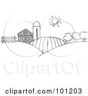 Royalty Free RF Clipart Illustration Of A Coloring Page Outline Of Rolling Hills A Farm And Silo On Farm Land by Hit Toon #COLLC101203-0037