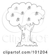 Royalty Free RF Clipart Illustration Of A Coloring Page Outline Of A Cherry Tree by Hit Toon