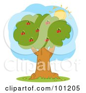 Royalty Free RF Clipart Illustration Of The Sun Merging Behind A Cherry Tree by Hit Toon