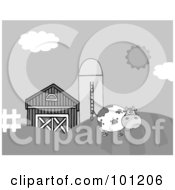 Grayscale Cow On A Hill Near A Silo And Barn