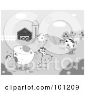 Grayscale Grazing Cattle Near A Barn And Silo
