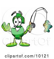 Clipart Picture Of A Dollar Sign Mascot Cartoon Character Holding A Fish On A Fishing Pole by Toons4Biz