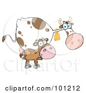 Royalty Free RF Clipart Illustration Of A Spotted Calf By A Mom Dairy Cow by Hit Toon