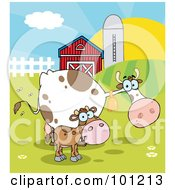 Royalty Free RF Clipart Illustration Of A Calf And Cow In A Pasture Near A Barn And Silo At Sunrise