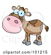 Royalty Free RF Clipart Illustration Of A Brown Calf With Spots by Hit Toon