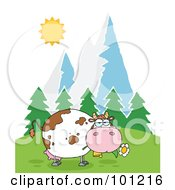 Royalty Free RF Clipart Illustration Of A Fat Cow Eating Flowers Near Mountains And Woods by Hit Toon