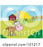 Royalty Free RF Clipart Illustration Of A Bee Flying Towards A Lone Calf In A Pasture by Hit Toon