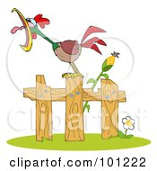 Royalty Free RF Clipart Illustration Of A Loud Rooster Crowing On A Wood Fence By A Corn Stalk by Hit Toon
