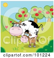 Royalty Free RF Clipart Illustration Of A Baby And Mommy Cow In A Pasture Near An Orchard by Hit Toon