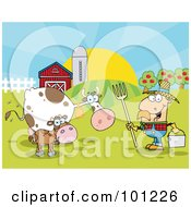 Royalty Free RF Clipart Illustration Of A Male Farmer Tending To His Cattle On His Farm