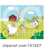 Royalty Free RF Clipart Illustration Of A Pasture Of Grazing Dairy Cows Near A Barn And Silo by Hit Toon