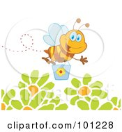 Royalty Free RF Clipart Illustration Of A Happy Honey Bee Flying With A Bucket Over Flowers