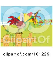 Royalty Free RF Clipart Illustration Of A Noisy Rooster Crowing On A Fence At The Edge Of A Pasture