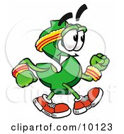 Clipart Picture Of A Dollar Sign Mascot Cartoon Character Speed Walking Or Jogging by Toons4Biz