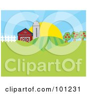 Royalty Free RF Clipart Illustration Of The Sun Rising Behind A Silo Barn Orchard Hills And Crops On A Farm