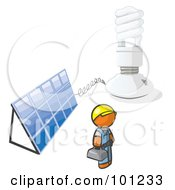 Royalty Free RF Clipart Illustration Of An Installer Orange Man By An Energy Saver Light Bulb And Solar Panel