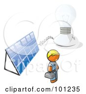 Royalty Free RF Clipart Illustration Of An Orange Man By A Light And A Solar Panel by Leo Blanchette