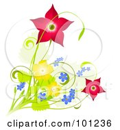 Royalty Free RF Clipart Illustration Of A Design Of Red Blue And Yellow Spring Flowers