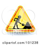 Royalty Free RF Clipart Illustration Of A Yellow Shiny Under Construction Triangle Sign