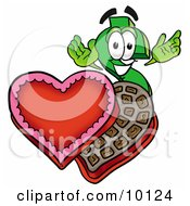 Clipart Picture Of A Dollar Sign Mascot Cartoon Character With An Open Box Of Valentines Day Chocolate Candies by Toons4Biz