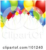 Background Of Shiny Party Balloons And Colorful Ribbons Over White