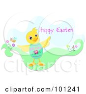 Happy Easter Greeting With A Duck Wearing An Easter Egg Shell