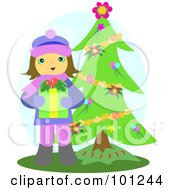 Royalty Free RF Clipart Illustration Of A Giving Girl Holding A Christmas Present By A Trimmed Tree by bpearth