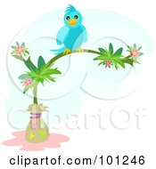 Royalty Free RF Clipart Illustration Of A Happy Blue Bird Perched On A Tropical Flowering Tree by bpearth