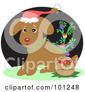 Royalty Free RF Clipart Illustration Of A Shy Christmas Puppy Wearing Holly And A Santa Hat By A Tiny Christmas Tree With A Merry Christmas Greeting On The Pot