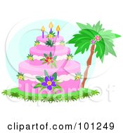 Royalty Free RF Clipart Illustration Of A Tropical Tiered Birthday Cake With Hibiscus Flowers And Candles Near A Palm Tree by bpearth