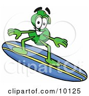 Dollar Sign Mascot Cartoon Character Surfing On A Blue And Yellow Surfboard by Toons4Biz