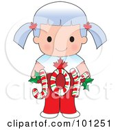 Royalty Free RF Clipart Illustration Of A Cute Canadian Girl Holding Joy Christmas Candy Canes by Maria Bell