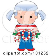 Cute American Girl Holding Joy Christmas Candy Canes