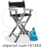 Blue Directors Cone Beside A Directors Chair