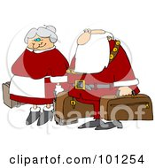 Royalty Free RF Clipart Illustration Of Santa And The Mrs Carrying Luggage