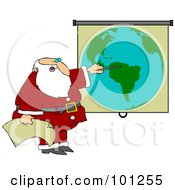 Royalty Free RF Clipart Illustration Of Santa Pointing To A World Map While Discussing Christmas Deliveries