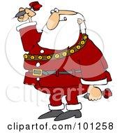 A Santa Biting His Lip And Playing Darts