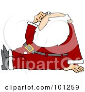 Santa Scratching His Head And Sitting On The Floor