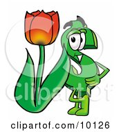 Clipart Picture Of A Dollar Sign Mascot Cartoon Character With A Red Tulip Flower In The Spring by Toons4Biz