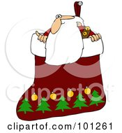Santa Looking Out Of A Christmas Stocking