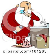 Royalty Free RF Clipart Illustration Of Santa Brushing His Teeth Over A Sink Bunny Slippers On His Feet by djart